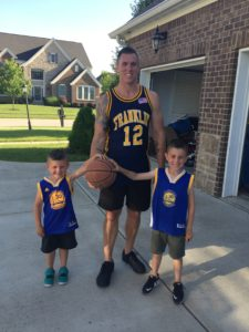 Roman and Leo in their Steph Curry jerseys. If I could have photoshopped myself out, I would have.